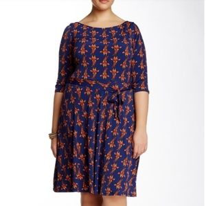 Leota Llana Giraffe Print Jersey Knit Dress 2X